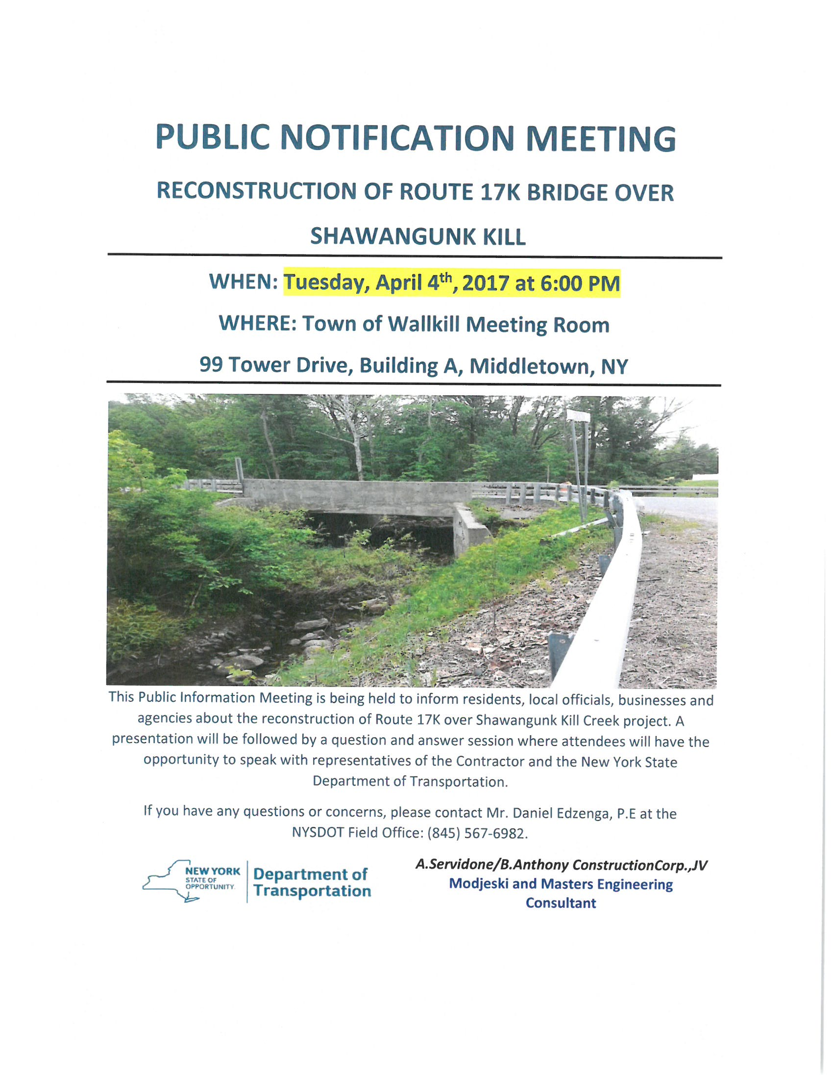 Route 17K Meeting flyer