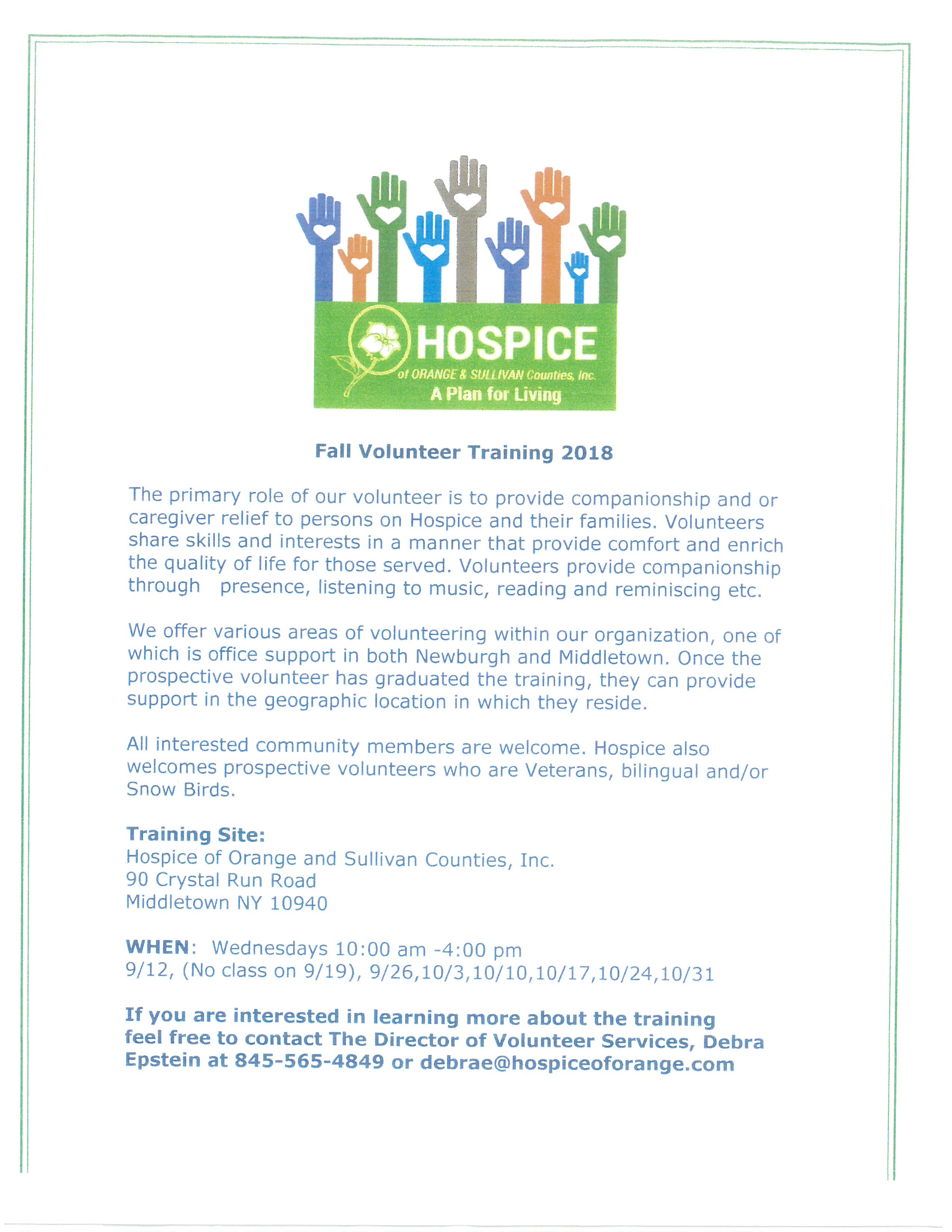 Hospice Volunteer Training 2018