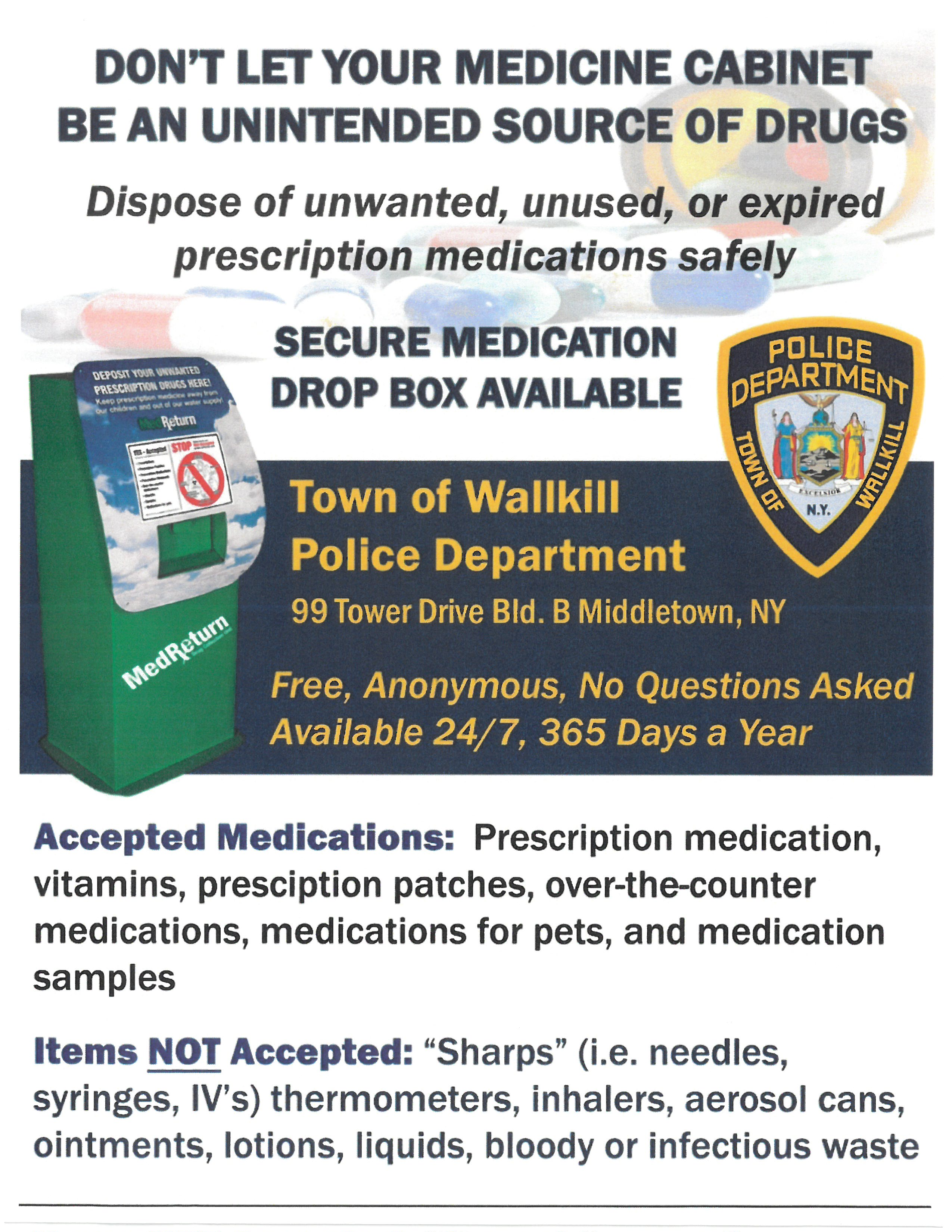 Town Of Wallkill Police Department Secure Medication Drop Box 10 19 2020